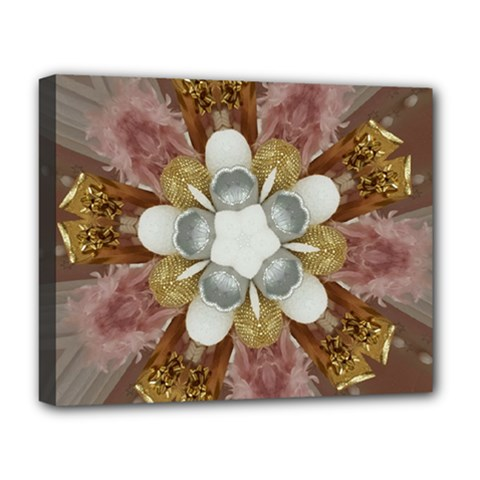 Elegant Antique Pink Kaleidoscope Flower Gold Chic Stylish Classic Design Deluxe Canvas 20  x 16