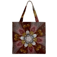 Elegant Antique Pink Kaleidoscope Flower Gold Chic Stylish Classic Design Grocery Tote Bag