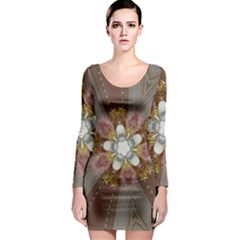 Elegant Antique Pink Kaleidoscope Flower Gold Chic Stylish Classic Design Long Sleeve Bodycon Dress