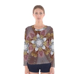 Elegant Antique Pink Kaleidoscope Flower Gold Chic Stylish Classic Design Women s Long Sleeve Tee