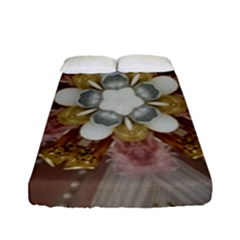 Elegant Antique Pink Kaleidoscope Flower Gold Chic Stylish Classic Design Fitted Sheet (Full/ Double Size)