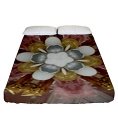 Elegant Antique Pink Kaleidoscope Flower Gold Chic Stylish Classic Design Fitted Sheet (King Size)