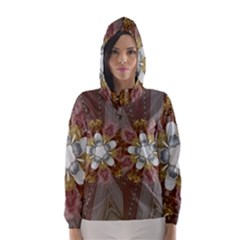 Elegant Antique Pink Kaleidoscope Flower Gold Chic Stylish Classic Design Hooded Wind Breaker (Women)