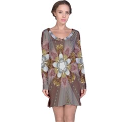 Elegant Antique Pink Kaleidoscope Flower Gold Chic Stylish Classic Design Long Sleeve Nightdress