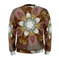Elegant Antique Pink Kaleidoscope Flower Gold Chic Stylish Classic Design Men s Sweatshirt
