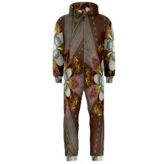 Elegant Antique Pink Kaleidoscope Flower Gold Chic Stylish Classic Design Hooded Jumpsuit (Men)