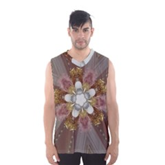 Elegant Antique Pink Kaleidoscope Flower Gold Chic Stylish Classic Design Men s Basketball Tank Top