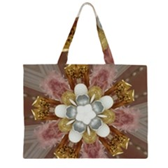 Elegant Antique Pink Kaleidoscope Flower Gold Chic Stylish Classic Design Zipper Large Tote Bag