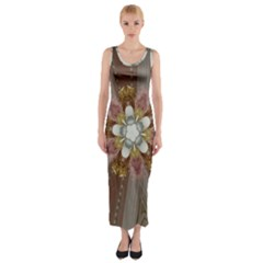 Elegant Antique Pink Kaleidoscope Flower Gold Chic Stylish Classic Design Fitted Maxi Dress