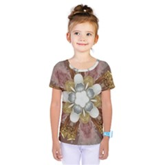 Elegant Antique Pink Kaleidoscope Flower Gold Chic Stylish Classic Design Kids  One Piece Tee