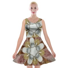 Elegant Antique Pink Kaleidoscope Flower Gold Chic Stylish Classic Design Velvet Skater Dress