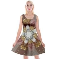 Elegant Antique Pink Kaleidoscope Flower Gold Chic Stylish Classic Design Reversible Velvet Sleeveless Dress