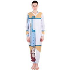 Presentation Girl Woman Hovering OnePiece Jumpsuit (Ladies)