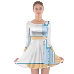 Presentation Girl Woman Hovering Long Sleeve Skater Dress