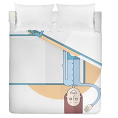 Presentation Girl Woman Hovering Duvet Cover Double Side (Queen Size)