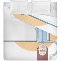 Presentation Girl Woman Hovering Duvet Cover Double Side (King Size)
