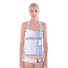 Presentation Girl Woman Hovering Boyleg Halter Swimsuit