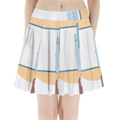 Presentation Girl Woman Hovering Pleated Mini Skirt
