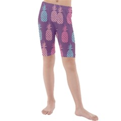 Pineapple Pattern Kids  Mid Length Swim Shorts