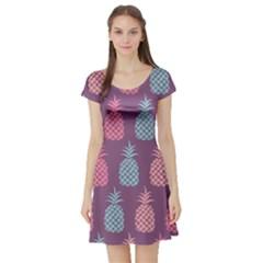 Pineapple Pattern Short Sleeve Skater Dress