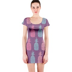 Pineapple Pattern Short Sleeve Bodycon Dress
