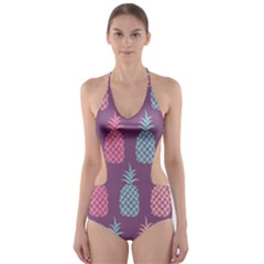 Pineapple Pattern Cut-Out One Piece Swimsuit