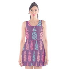 Pineapple Pattern Scoop Neck Skater Dress