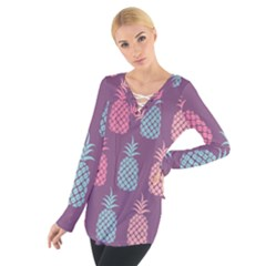 Pineapple Pattern Women s Tie Up Tee