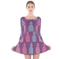 Pineapple Pattern Long Sleeve Velvet Skater Dress