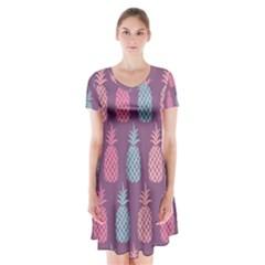 Pineapple Pattern Short Sleeve V-neck Flare Dress