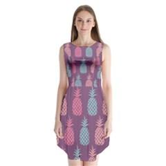 Pineapple Pattern Sleeveless Chiffon Dress