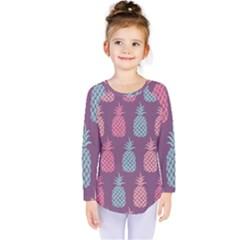 Pineapple Pattern Kids  Long Sleeve Tee