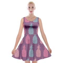 Pineapple Pattern Velvet Skater Dress