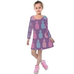 Pineapple Pattern Kids  Long Sleeve Velvet Dress