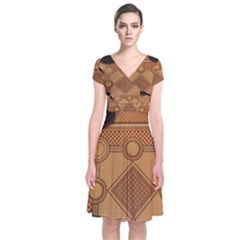 Mosaic The Elaborate Floor Pattern Of The Sydney Queen Victoria Building Short Sleeve Front Wrap Dress