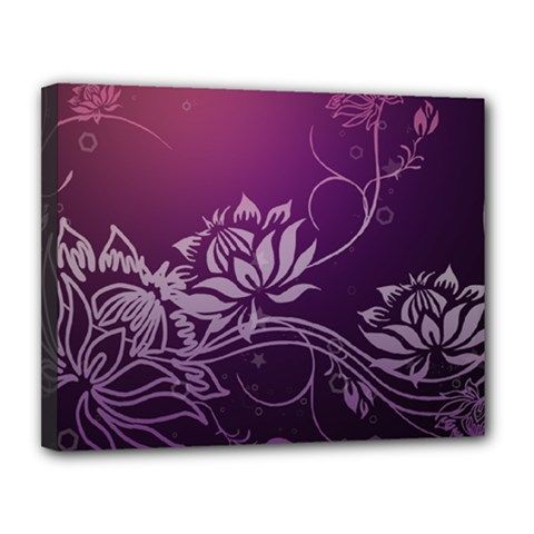 Purple Lotus Canvas 14  x 11