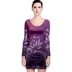 Purple Lotus Long Sleeve Bodycon Dress