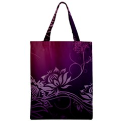 Purple Lotus Zipper Classic Tote Bag