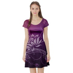 Purple Lotus Short Sleeve Skater Dress