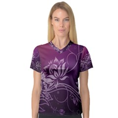 Purple Lotus Women s V-Neck Sport Mesh Tee