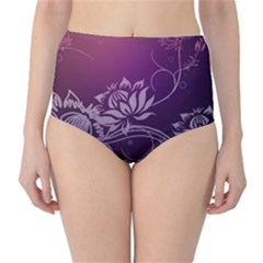 Purple Lotus High-Waist Bikini Bottoms