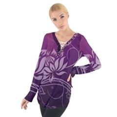Purple Lotus Women s Tie Up Tee