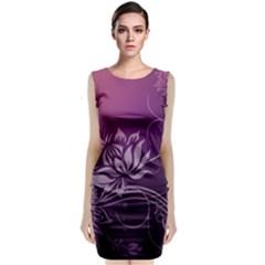 Purple Lotus Sleeveless Velvet Midi Dress