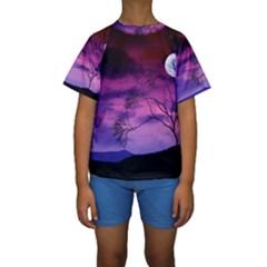 Purple Sky Kids  Short Sleeve Swimwear