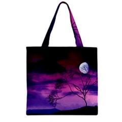Purple Sky Zipper Grocery Tote Bag