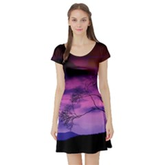 Purple Sky Short Sleeve Skater Dress
