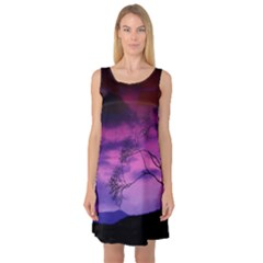 Purple Sky Sleeveless Satin Nightdress
