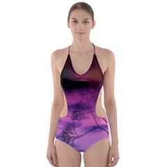 Purple Sky Cut-Out One Piece Swimsuit