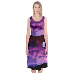 Purple Sky Midi Sleeveless Dress