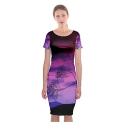 Purple Sky Classic Short Sleeve Midi Dress